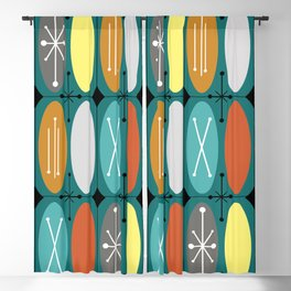 Atomic Era Ovals In Rows Teal Colorful Blackout Curtain