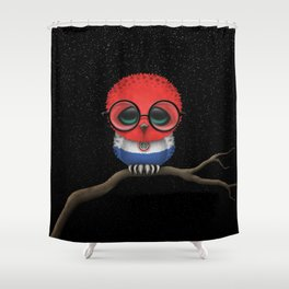 Baby Owl with Glasses and Paraguay Flag Shower Curtain