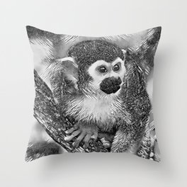 AnimalArtBW_Monkey_20170602_by_JAMColorsSpecial Throw Pillow