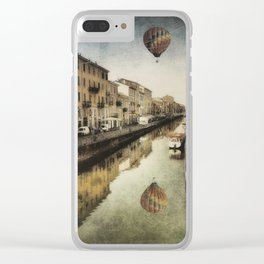 Air balloon over the canal Clear iPhone Case