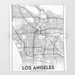 Minimal City Maps - Map Of Los Angeles, California, United States Throw Blanket