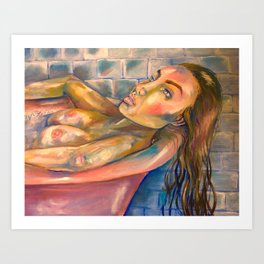 Relaxed nude woman Art Print