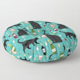 Black cat wine champagne cocktails cat breeds cat lover pattern art print Floor Pillow