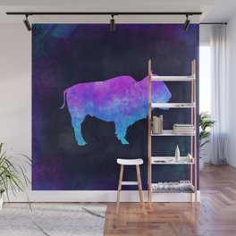 BUFFALO IN SPACE // Animal Graphic Art // Watercolor Canvas Painting // Modern Minimal Cute Wall Mural