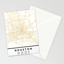 HOUSTON TEXAS CITY STREET MAP ART Stationery Cards