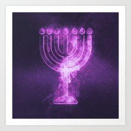 Hanukkah menorah symbol. Menorah symbol of Judaism. Abstract night sky background. Art Print