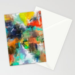 splash brush painting texture abstract background in brown orange blue yellow Stationery Cards