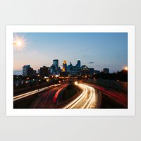 minneapolis Art Prints featuring Minneapolis by Ben Erickson