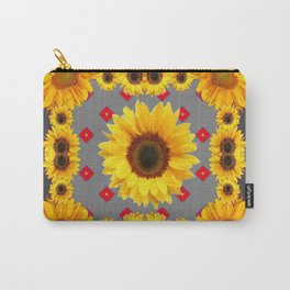 Western Blanket Style Sunflowers Grey Art Carry-All Pouch