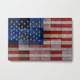 American Flag Quilt Metal Print