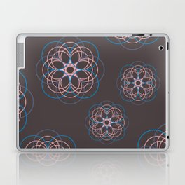 Boho Style Line Mandala Flowers, Pink Blue Purple Hippi Style Laptop & iPad Skin