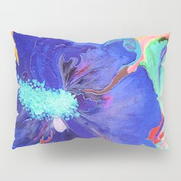 Birthday Acrylic Blue Orange Hibiscus Flower Painting with Red and Green Leaves Pillow Sham