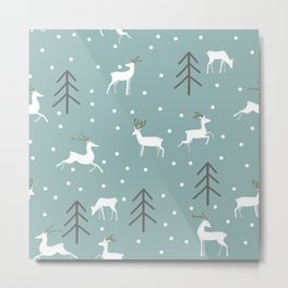 Deer in a Christmas Forest Metal Print