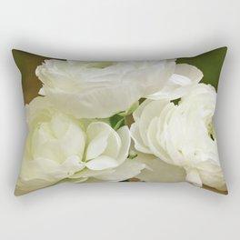 Spring Botanical -- White Ranunculus Flowers Rectangular Pillow