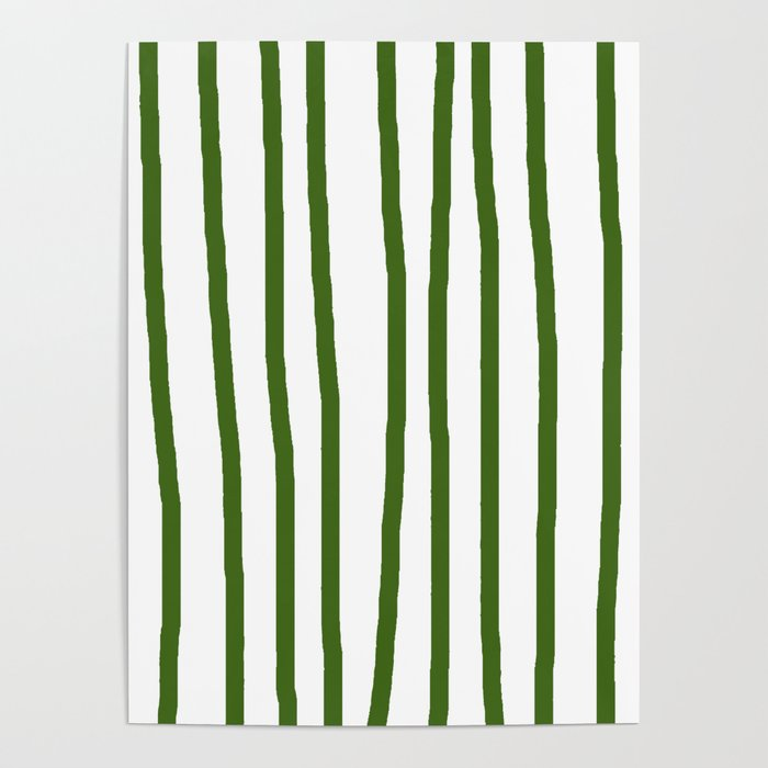Simply Drawn Vertical Stripes in Jungle Green Poster