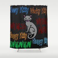 sassy Shower Curtains featuring Sassy Kitty by Wired Circuit