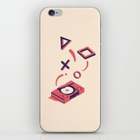 playstation iPhone & iPod Skins featuring ElectroVideo PlayStation (red) by Robin Wells