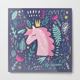 Cute unicorn print Metal Print