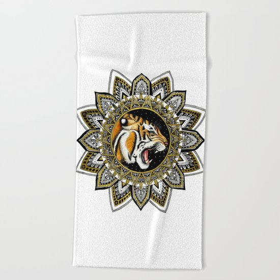 Black and Gold Roaring Tiger Mandala Beach Towel