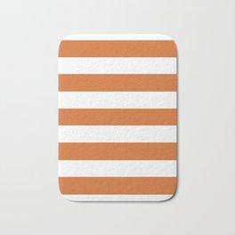 Christmas orange - solid color - white stripes pattern Bath Mat