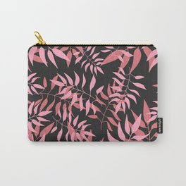 Dark Pink Leaves Carry-All Pouch
