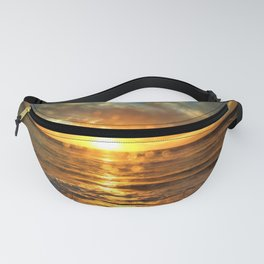 Rainy Beach Sunset Water Effect by Reay of Light Fanny Pack