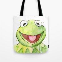 kermit Tote Bags featuring Kermit Portrait by Olechka