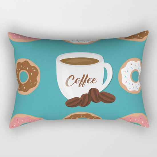 Coffee and Donuts Rectangular Pillow