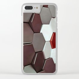 What The Hex Geo Abstract In Steel, Copper and White Clear iPhone Case
