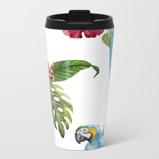 Tropical Bird Pattern 02 Metal Travel Mug