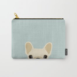 French Bulldog Peek - Cream on Dusty Blue Carry-All Pouch
