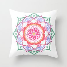 Decorative Coloured Flower Mandala Throw Pillow
