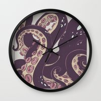 octopus Wall Clocks featuring octopus  by Julia Coalrye