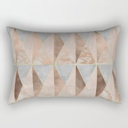 Copper Foil and Blush Rose Gold Marble Triangles Argyle Rectangular Pillow