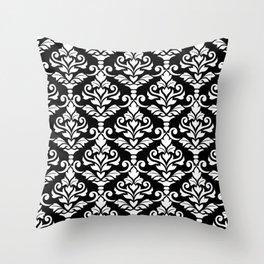 Cresta Damask Pattern White on Black Throw Pillow