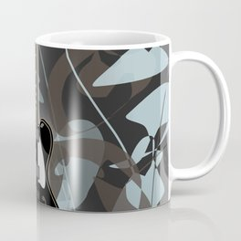 Black semi-acoustic guitar against a swirled gray and blue background | Vector digital art Coffee Mug