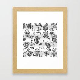Black and White Floral on Stripes Framed Art Print