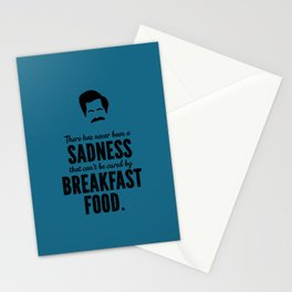 Ron Swanson There Has Never Been a Sadness that Can't Be Cured By Breakfast Food Stationery Cards