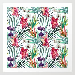 Tropical Watercolor Palm Fronds Art Print