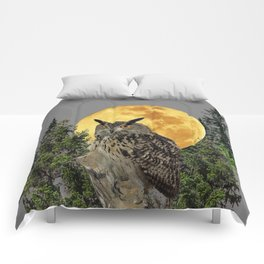 GREY WILDERNESS OWL WITH FULL MOON & PINE TREES Comforters