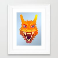 charizard Framed Art Prints featuring Flaming Dragon by Head Glitch