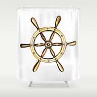 nautical Shower Curtains featuring Nautical by kristinesarleyart