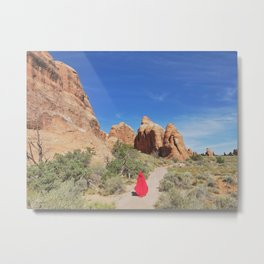 Portrait in Red | Arched VI Metal Print