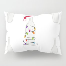 Christmas champagne bottle with Christmas light bulb. Happy new year pattern background Pillow Sham