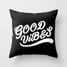 Good Vibes Happy Uplifting Design Black And White Throw Pillow