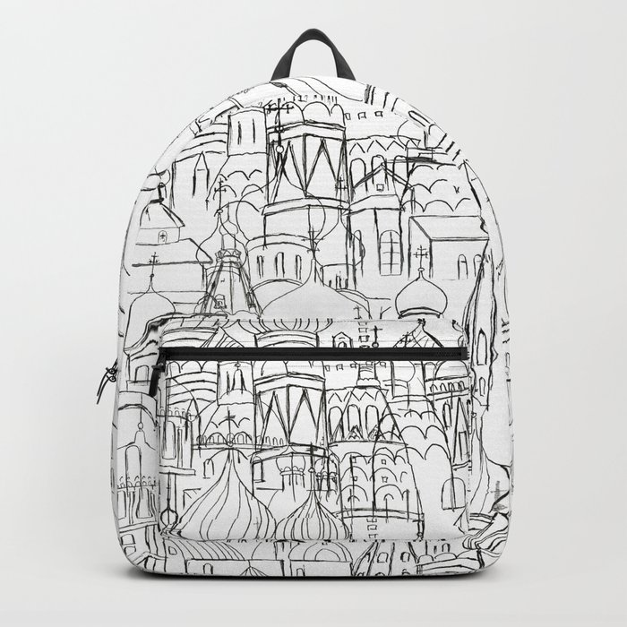 Russian cathedral church line drawing Backpack