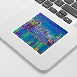 New York City Night Lights - palette knife painting urban Brooklyn bridge skyline Sticker