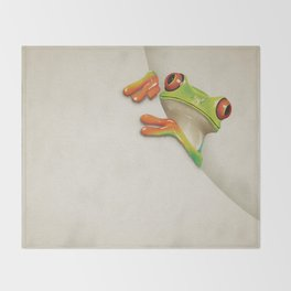 Little Red Eyed Tree Frog Throw Blanket