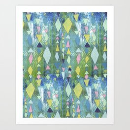 Geometric Slide in Cool Blue Art Print
