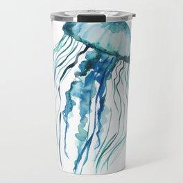 Watercolor Aqua Jellyfish Travel Mug